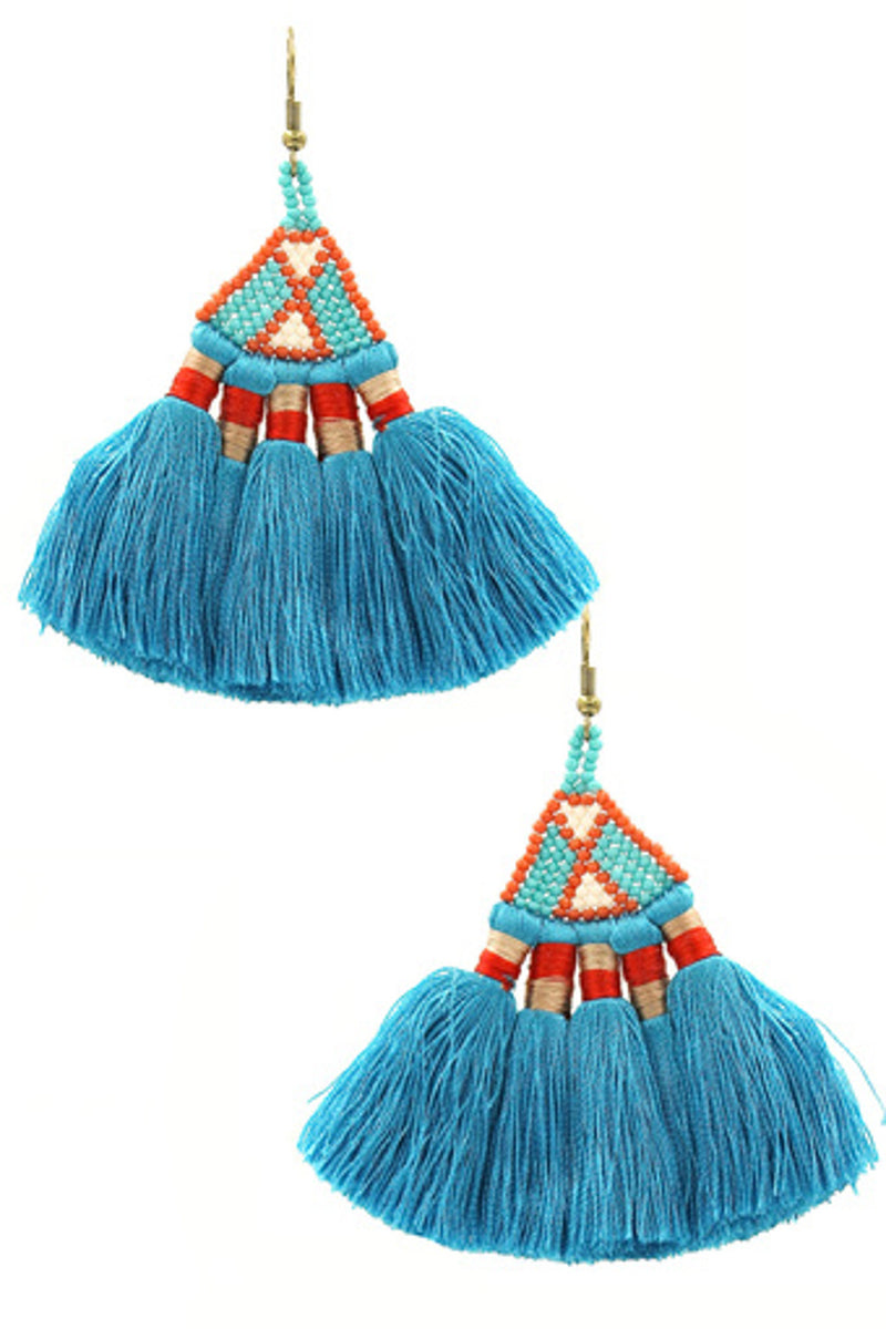 Cotton Fan Tassel Earrings-Gold/Blue