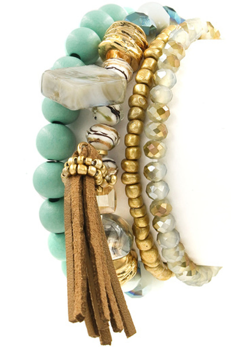 Assorted Bead Stretch Bracelet-Turquoise