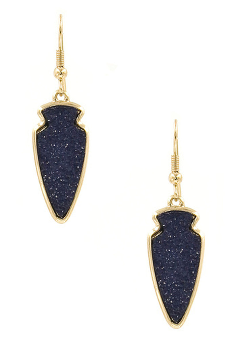 Druzy Stone Arrowhead Earrings-Navy