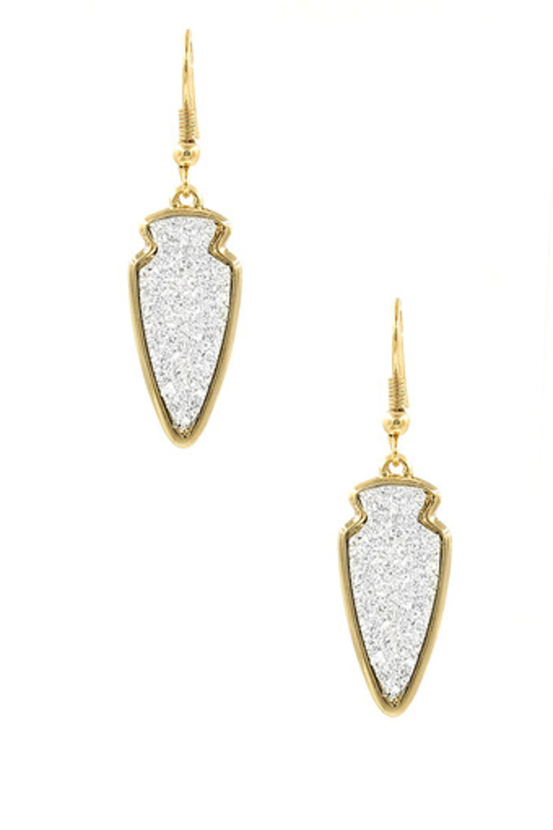 Druzy Stone Arrowhead Earrings-Silver