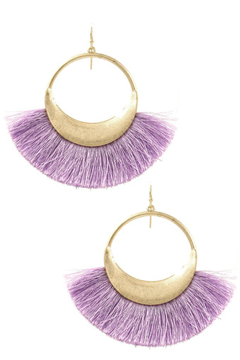 Cotton Fringe Drop Earrings