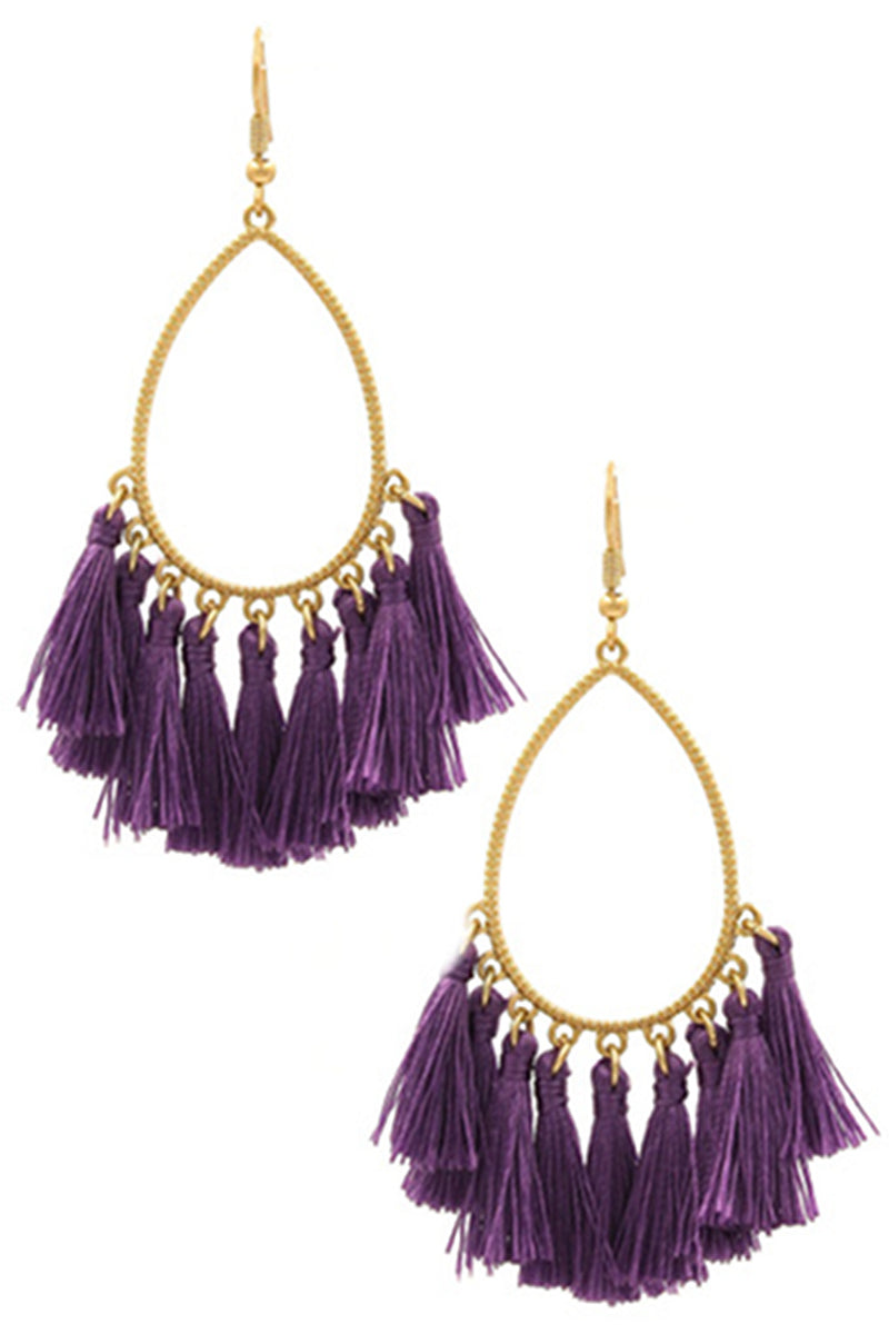 Teardrop Cotton Tassel Drop Earrings-Purple