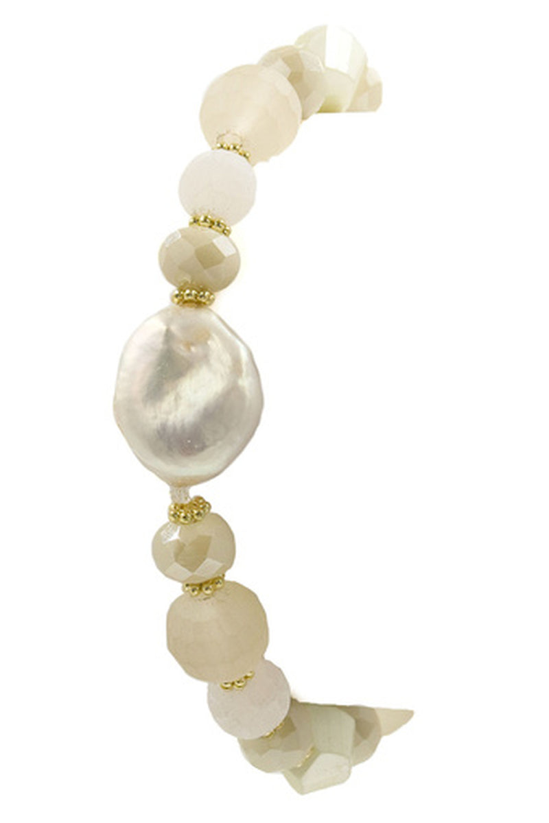 Faceted Bead Cream Pearl Coin Bracelet