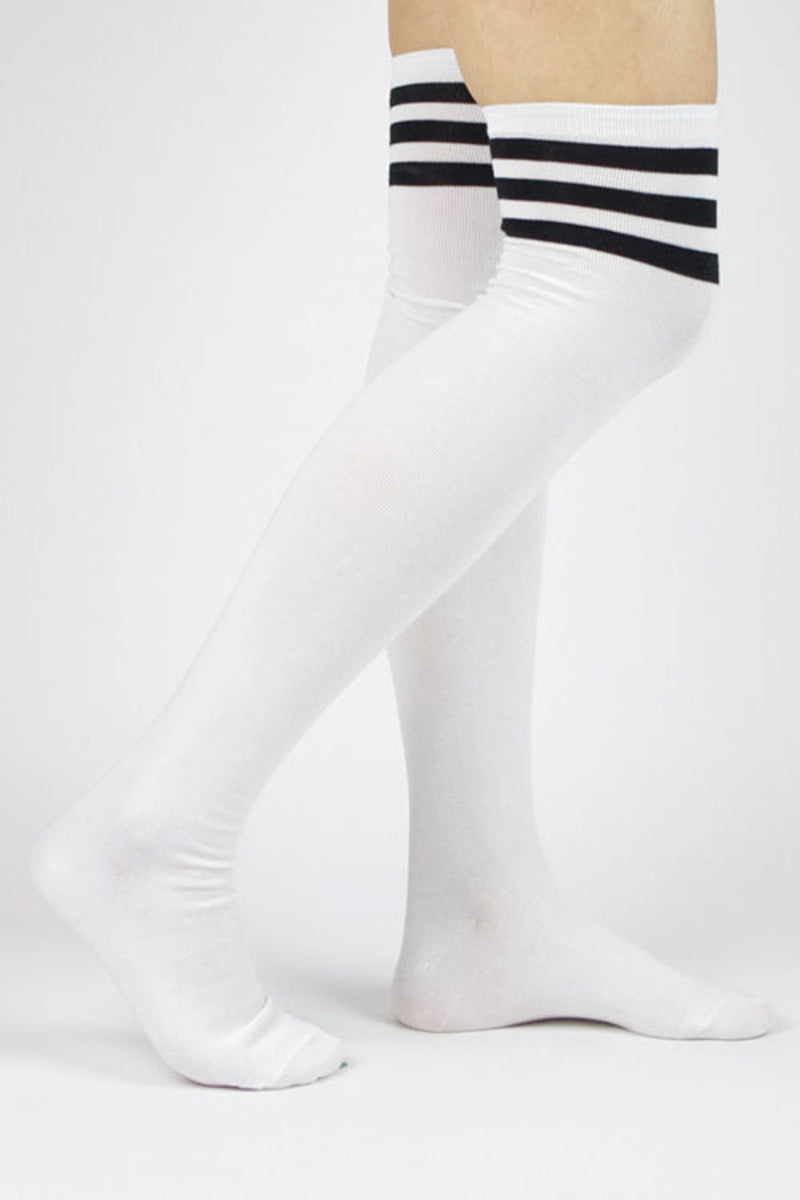 SALE- Over The Knee Striped Sock-White