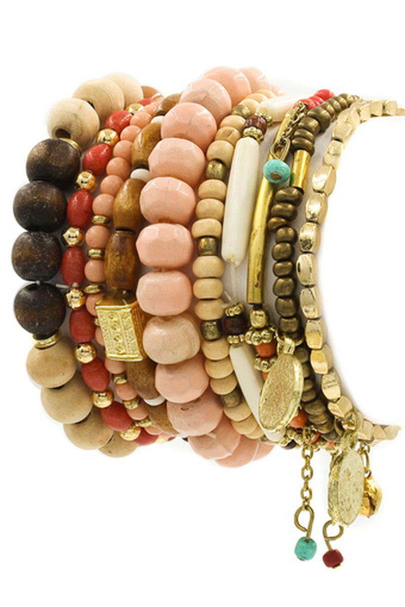 Multi Bead Stretch Bracelet Set-Pink