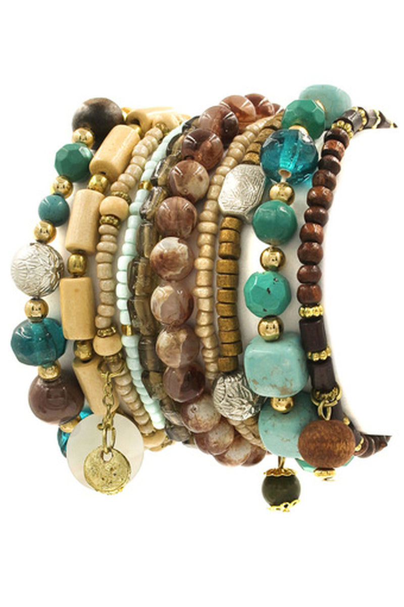 Multi Bead Stretch Bracelet Set-Turquoise