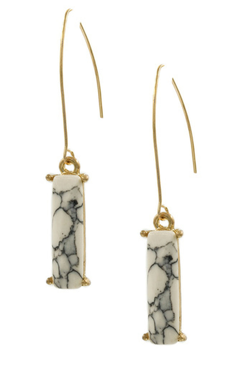 Stone Bar Kidney Wire Earrings-White