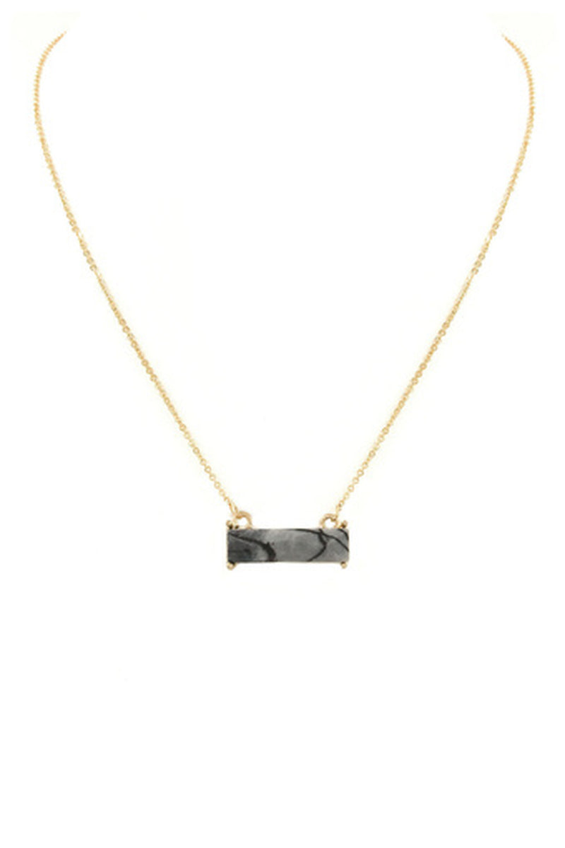 Rectangle Stone Bar Necklace-Black