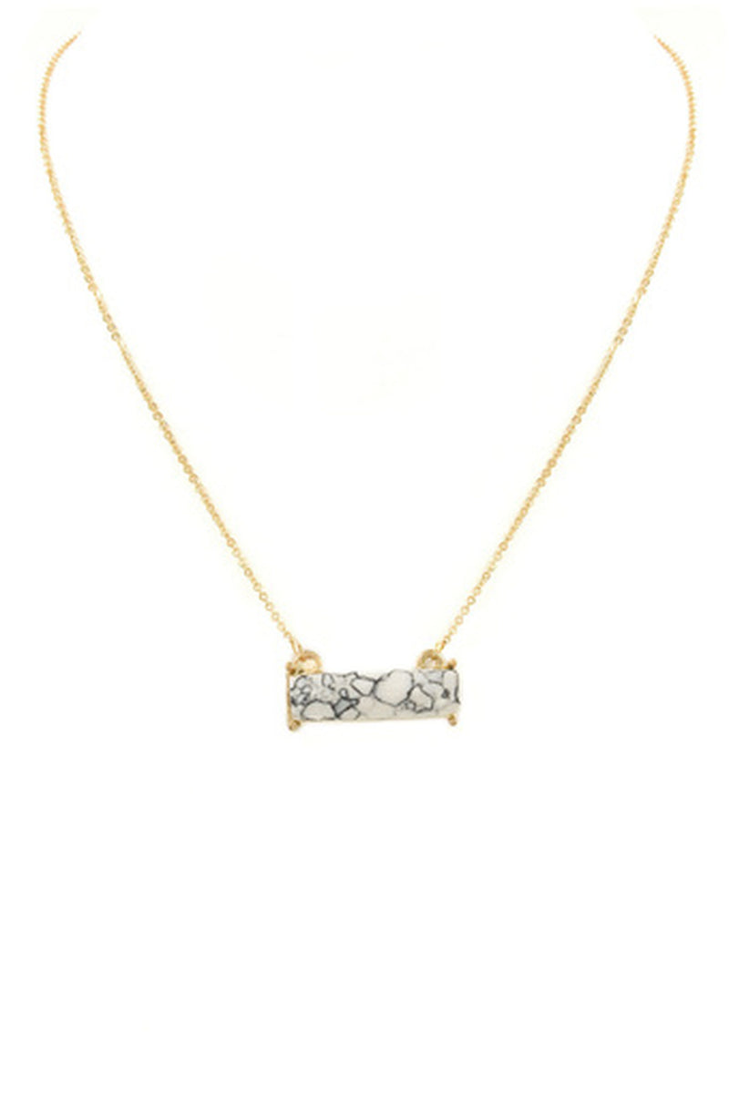 Rectangle Stone Bar Necklace-White