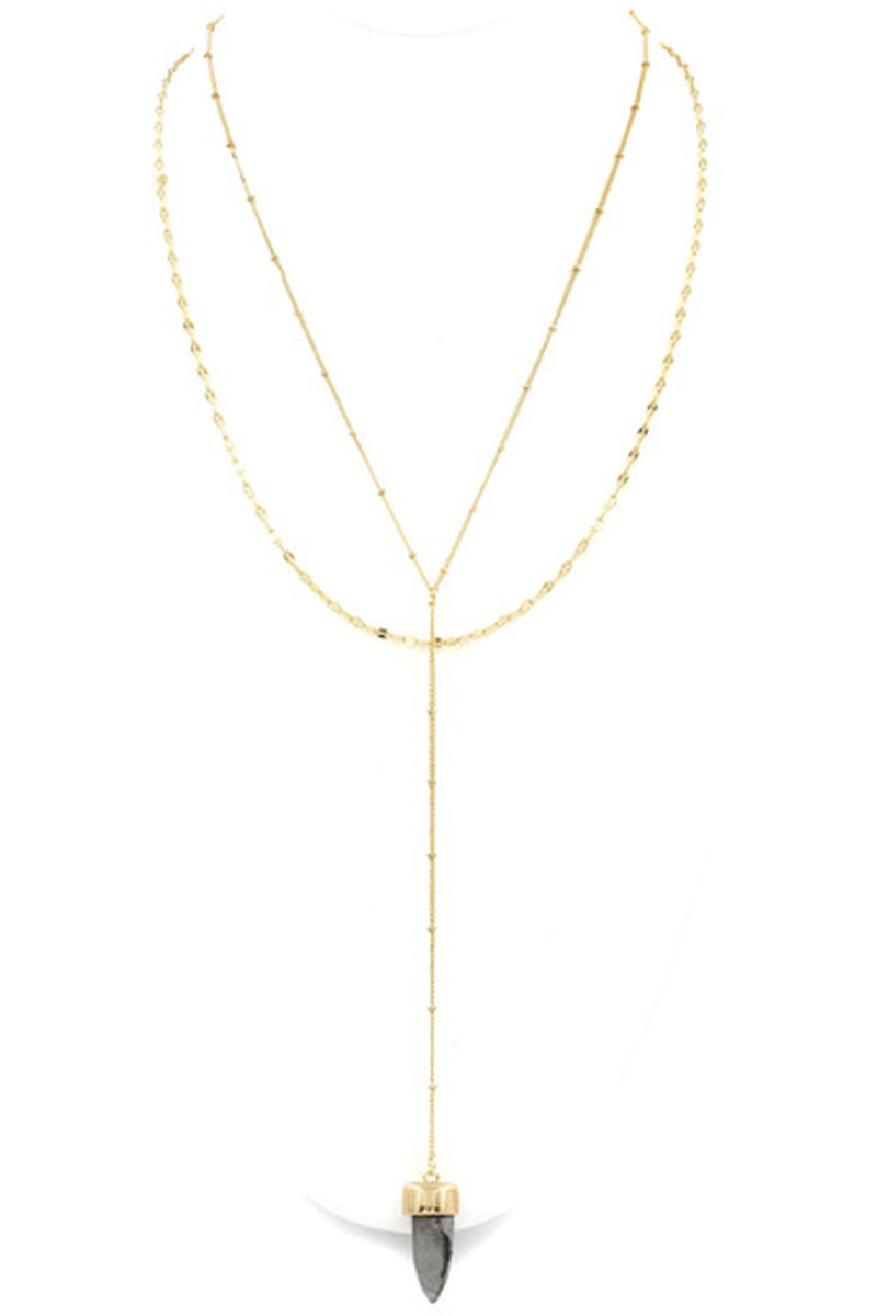 Double Layered Y Drop Necklace-Gold/Grey