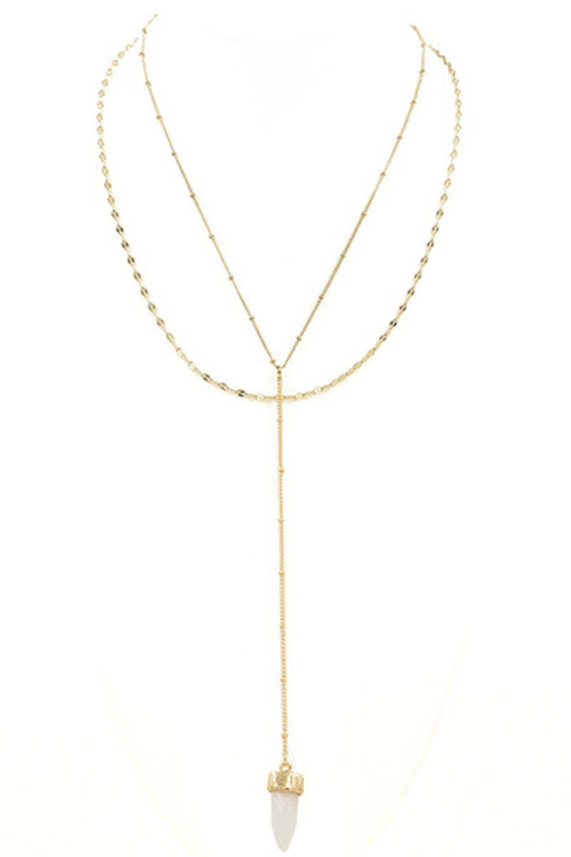 Double Layered Y Drop Necklace-Gold/White