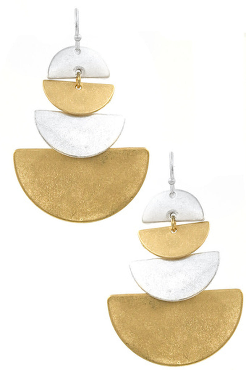 Hammered Half Circle Drop Earrings-Worn Gold/Silver
