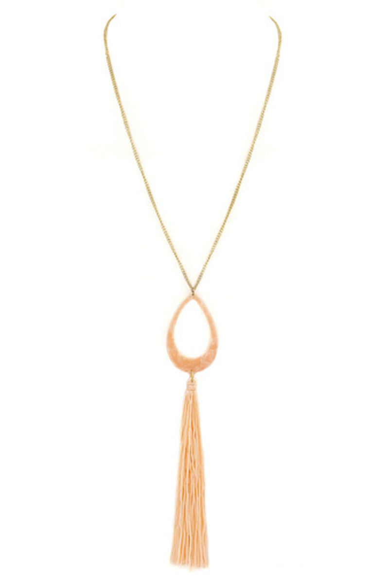 Teardrop Tassel Pendant Necklace-Peach