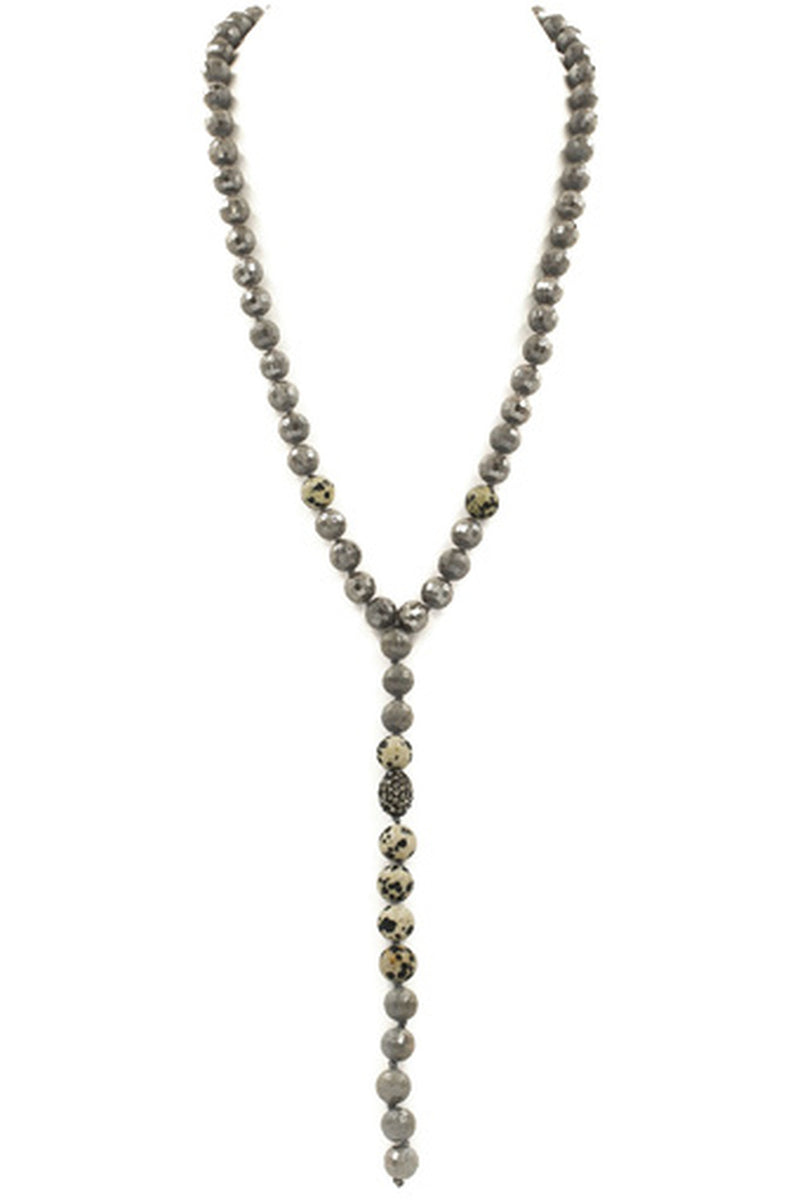 Glass Bead 'Y' Drop Necklace-Dalmation Jasper