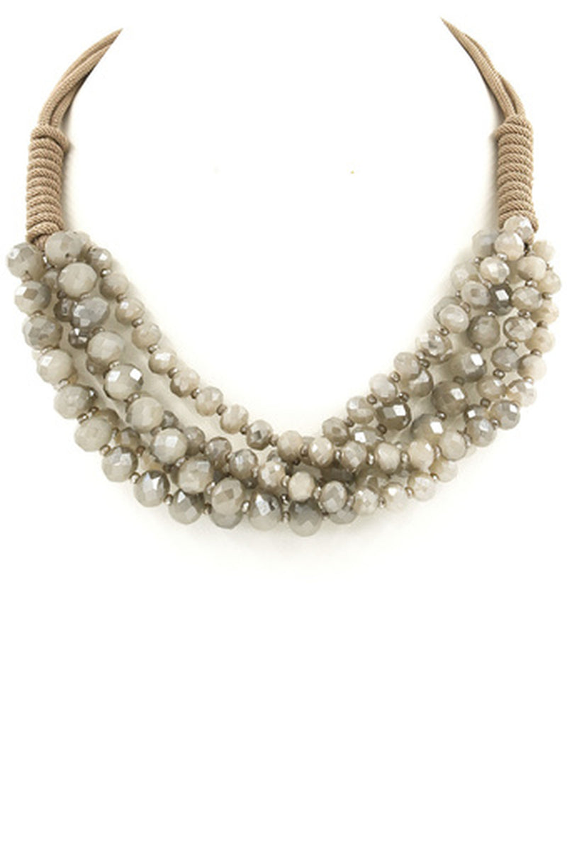 Glass Bead Cluster Necklace-Grey