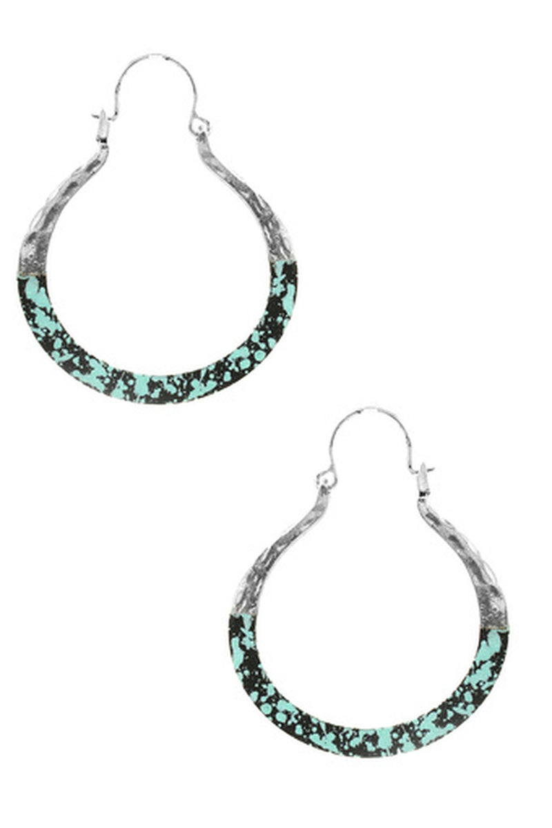 Paint Splatter Metal Horseshoe Earrings-Turquoise
