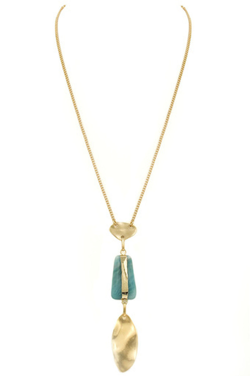 Metal/Stone Pendant Necklace-Worn gold/Green