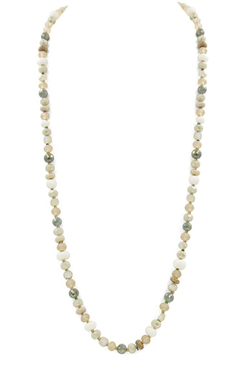 Mixed Bead Long Necklace-White