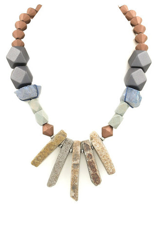 Faux Suede Metal Spike Bib Necklace Set-Silver