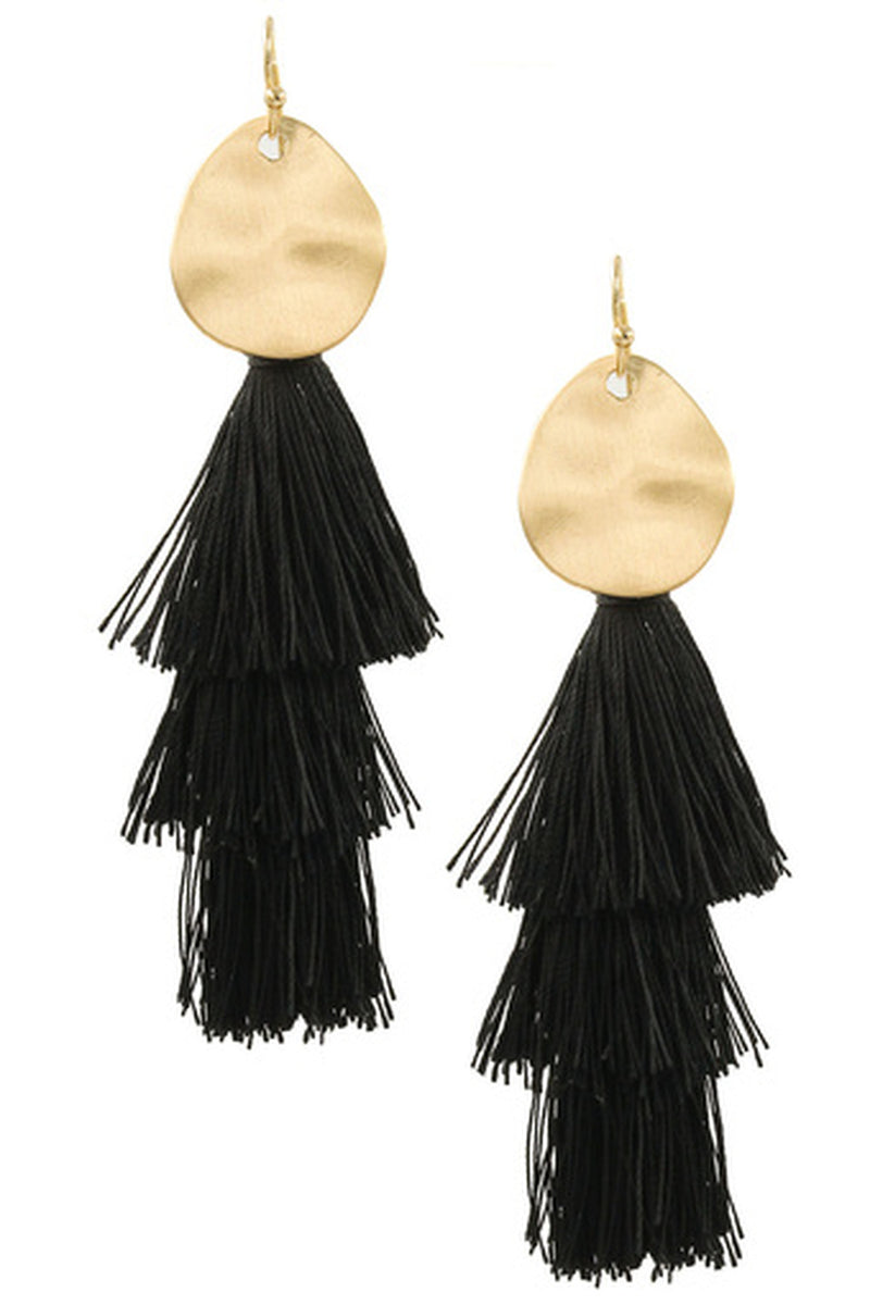 Metal Disc Cotton Tassel Earrings-Black