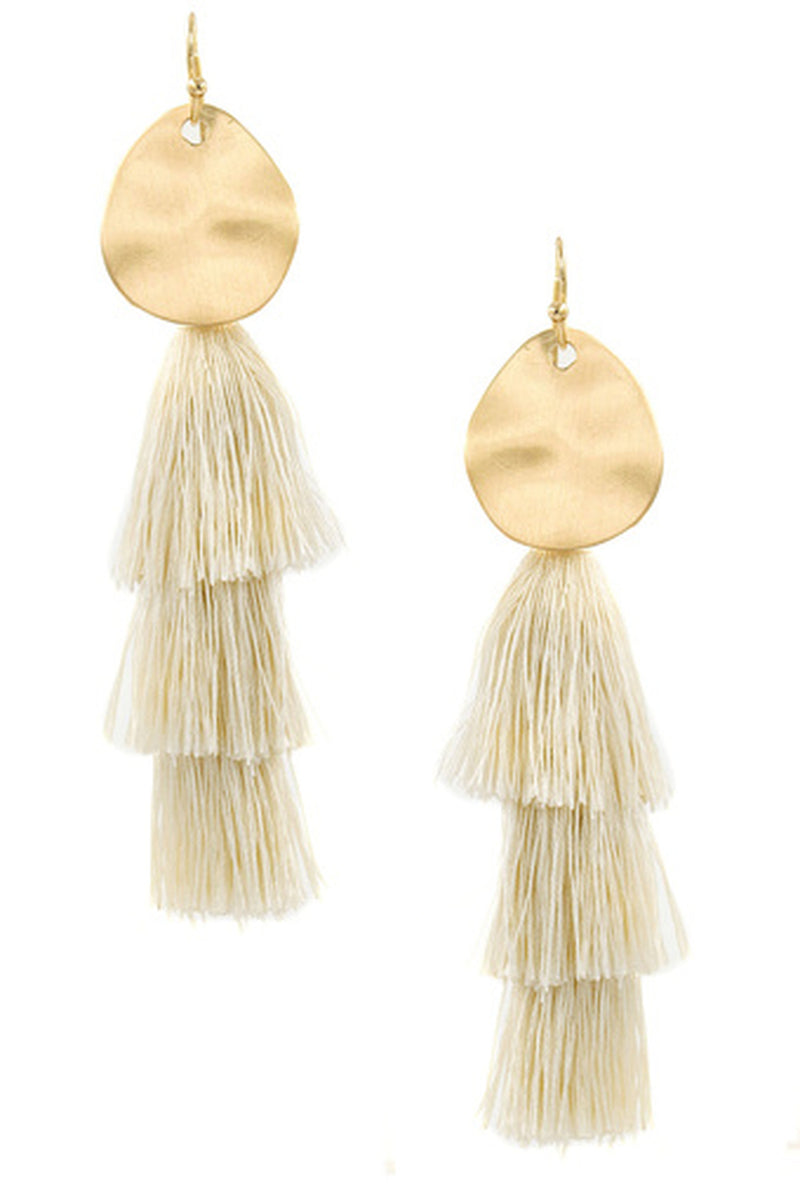 Metal Disc Cotton Tassel Earrings-Ivory