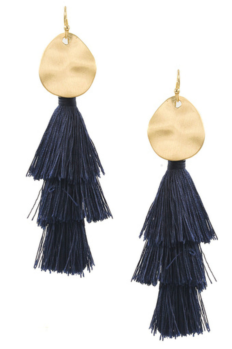 Metal Disc Cotton Tassel Earrings-Montana