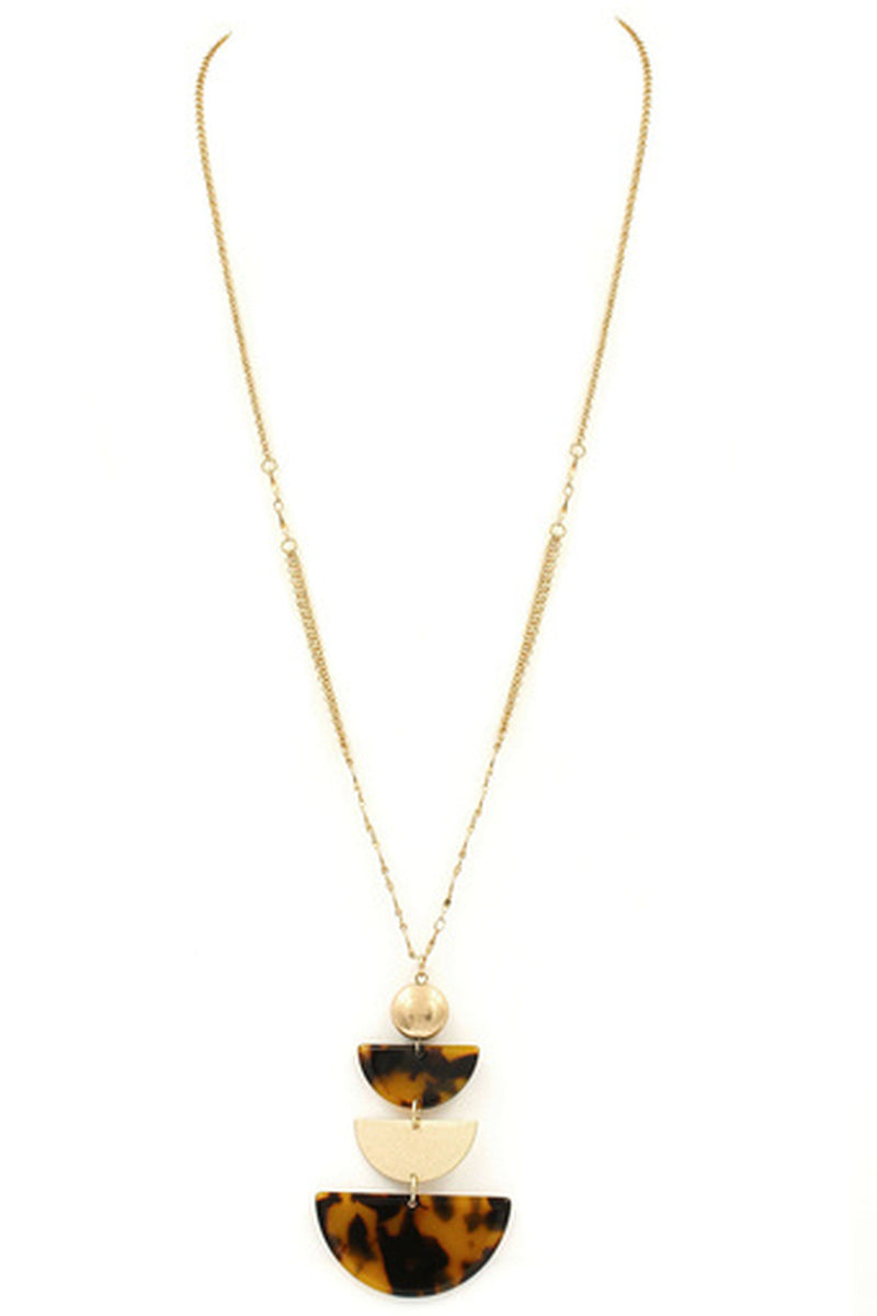 Metal Acetate Semi Circle Pendant Necklace-Tortoise