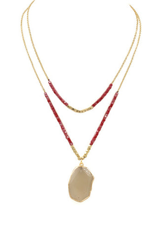 Genuine Stone Pendant Necklace-Pink