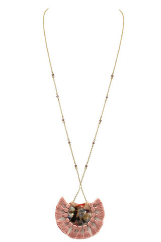 Faceted Bead Tassel Necklace-Peach