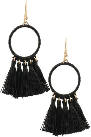 Teardrop Cotton Tassel Drop Earrings-Turquoise