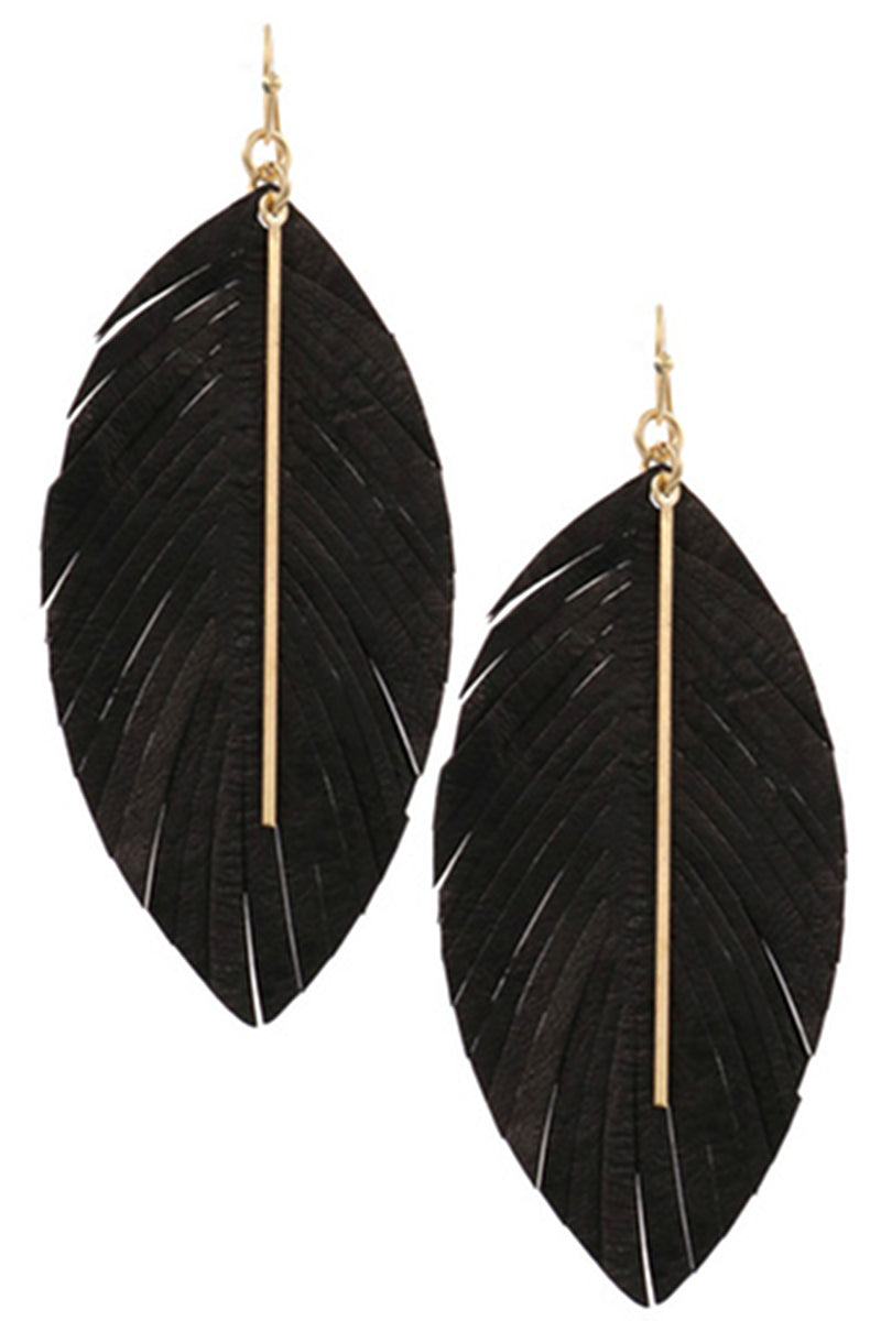 Genuine Leather Feather Earrings-Black