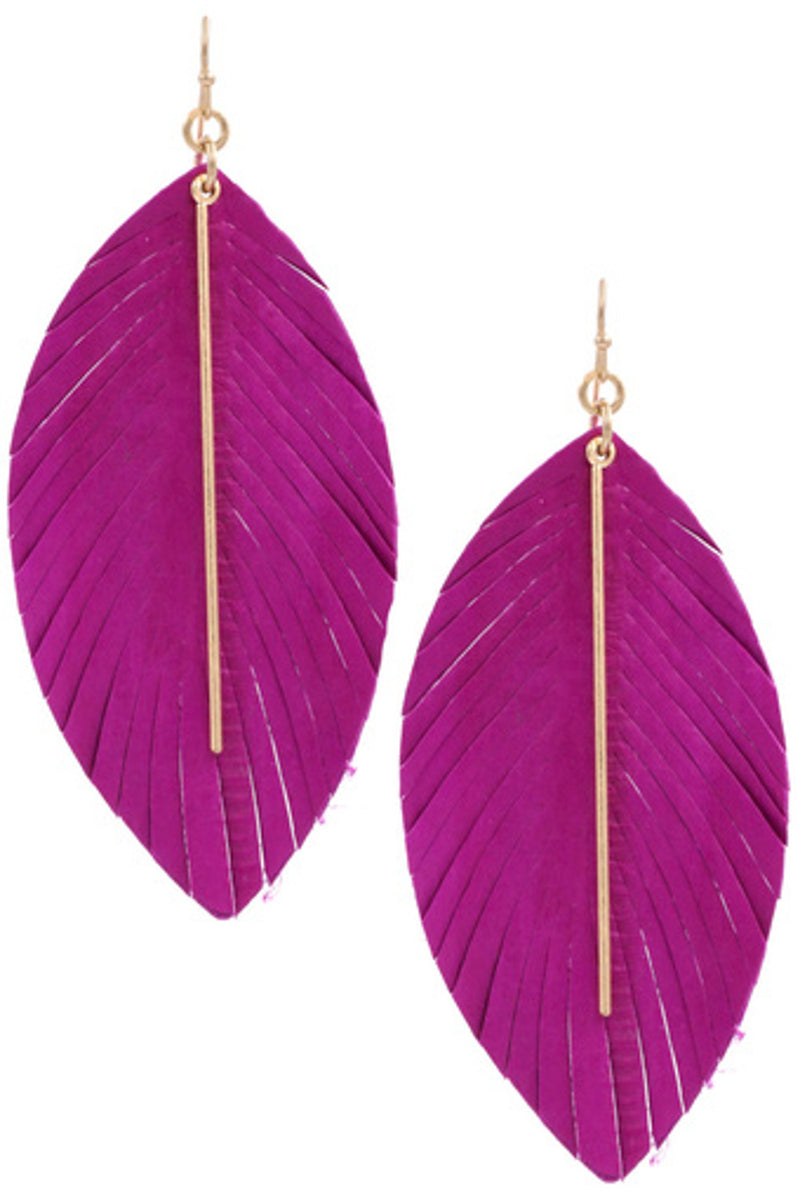 Genuine Leather Feather Earrings-Gold/Fuchsia