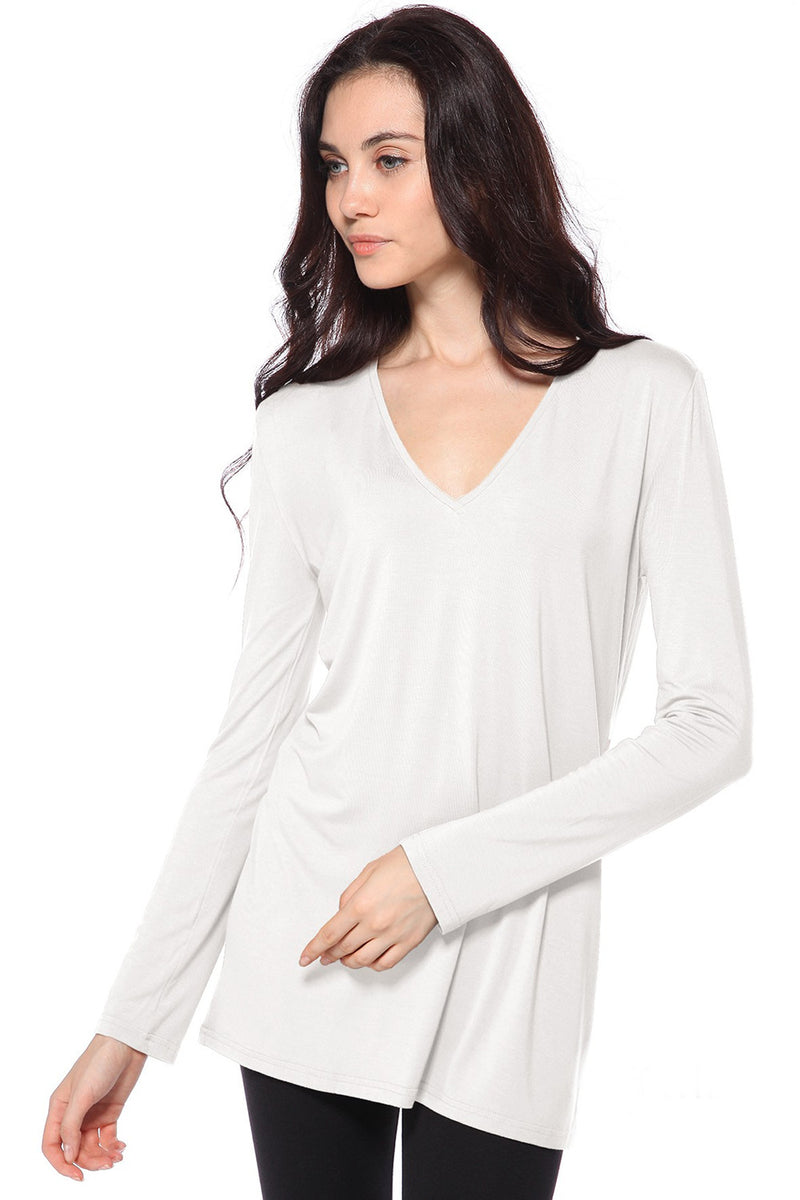 The Perfect Piko Slim Fit V-Neck Top-Off White