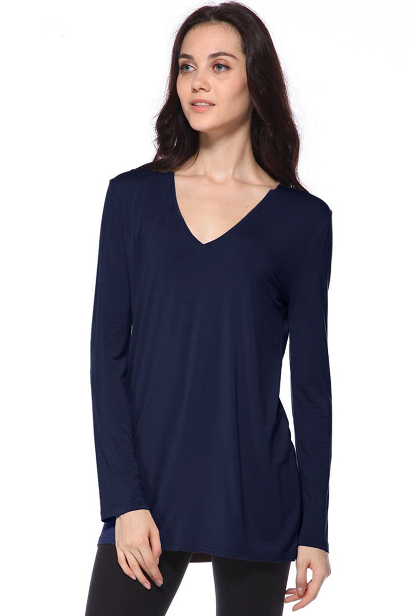 The Perfect Piko Slim Fit V-Neck Top-Navy