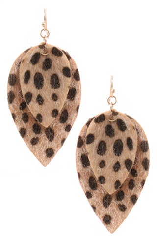 Faux Leather Snake Drop Earrings-Natural