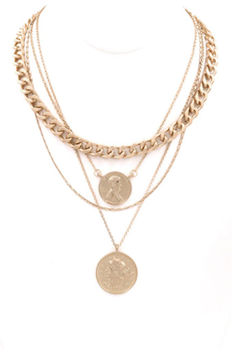 Coin Charm Necklace-Worn Gold