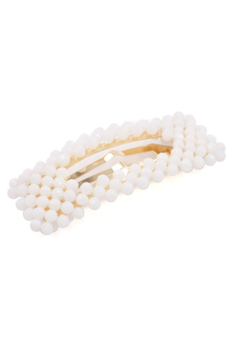 Glass Bead Rectangle Hair Pin-White