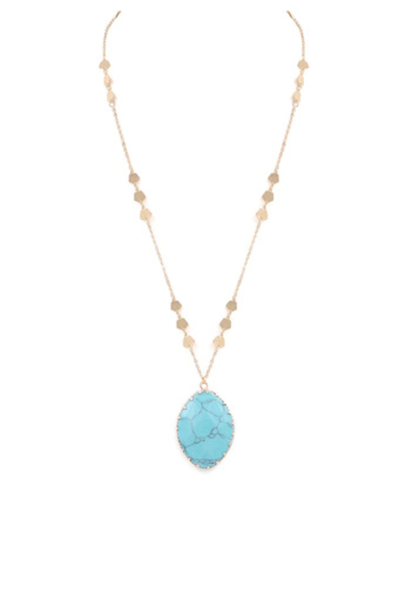 Teardrop Stone Necklace-Turquoise