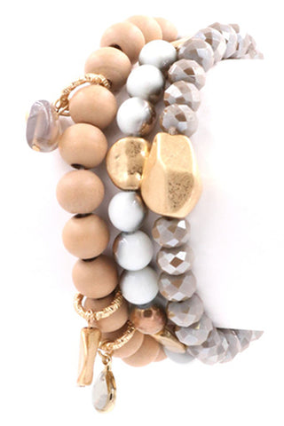 Beaded Metal Five Layer Stretch Bracelet-Gold
