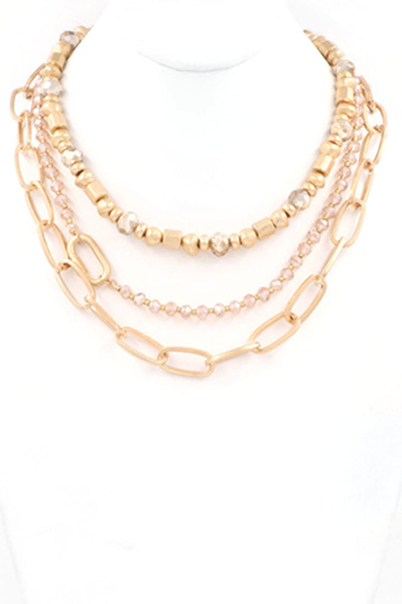 Metal Bead Chain Necklace-Rose