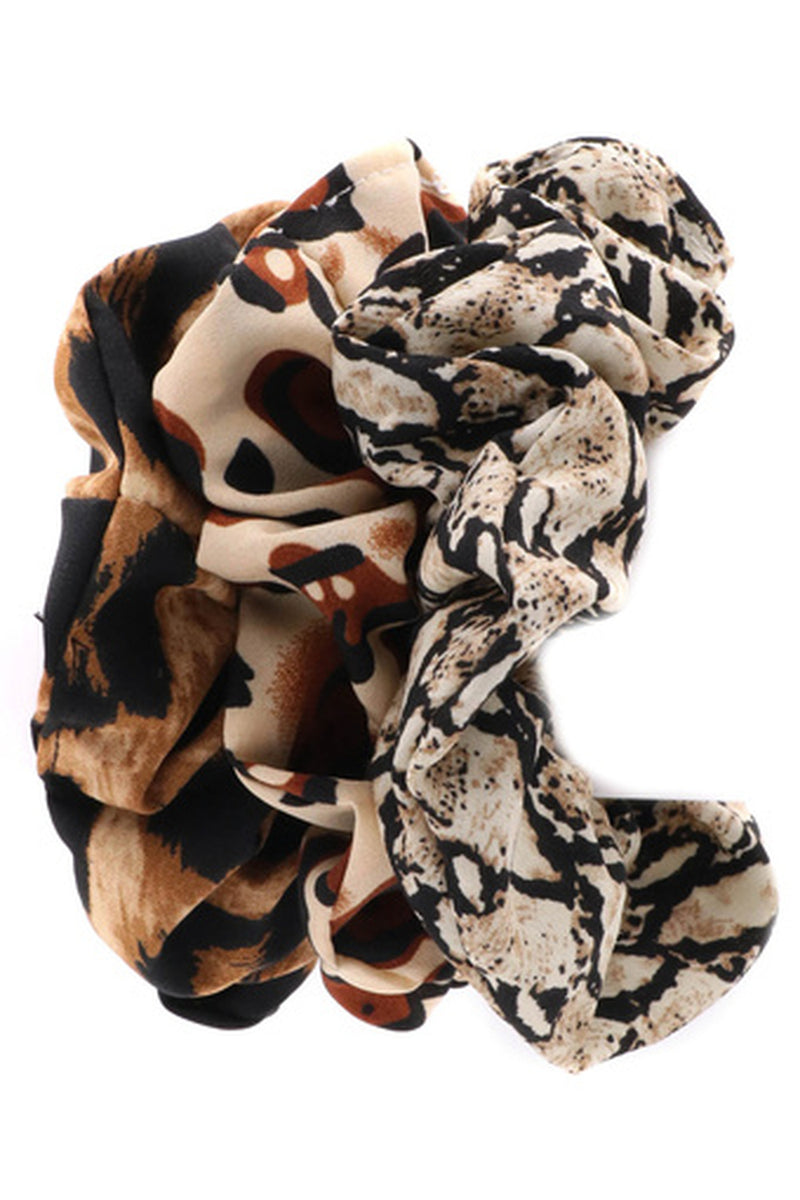 Animal Print Scrunchie Set-Brown/Multi
