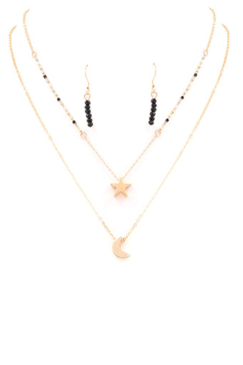 Star and Moon Charm Necklace-Grey