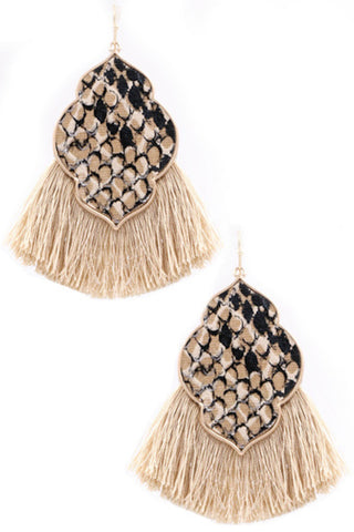 Cotton Tassel Fringe Earrings-Purple