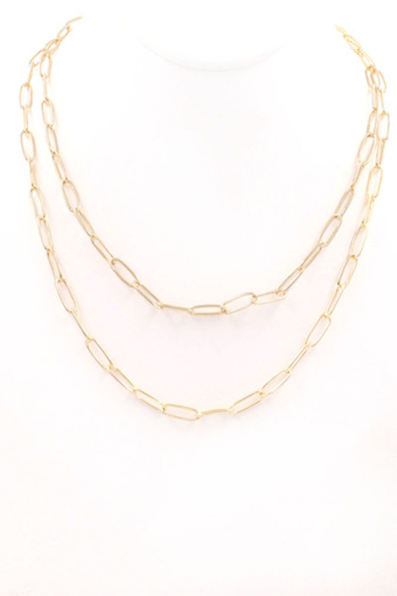 Layered Chain Necklace-Gold
