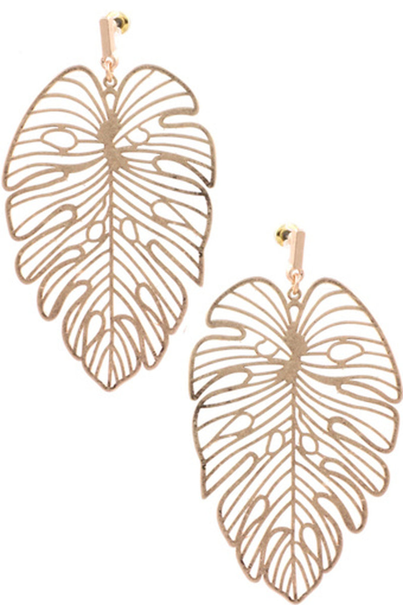 Metal Philodendron Leaf Earrings-Worn Gold