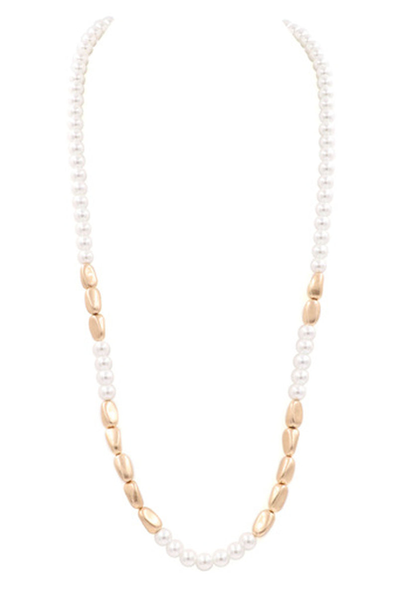 Acrylic Pearl Necklace-Worn Gold