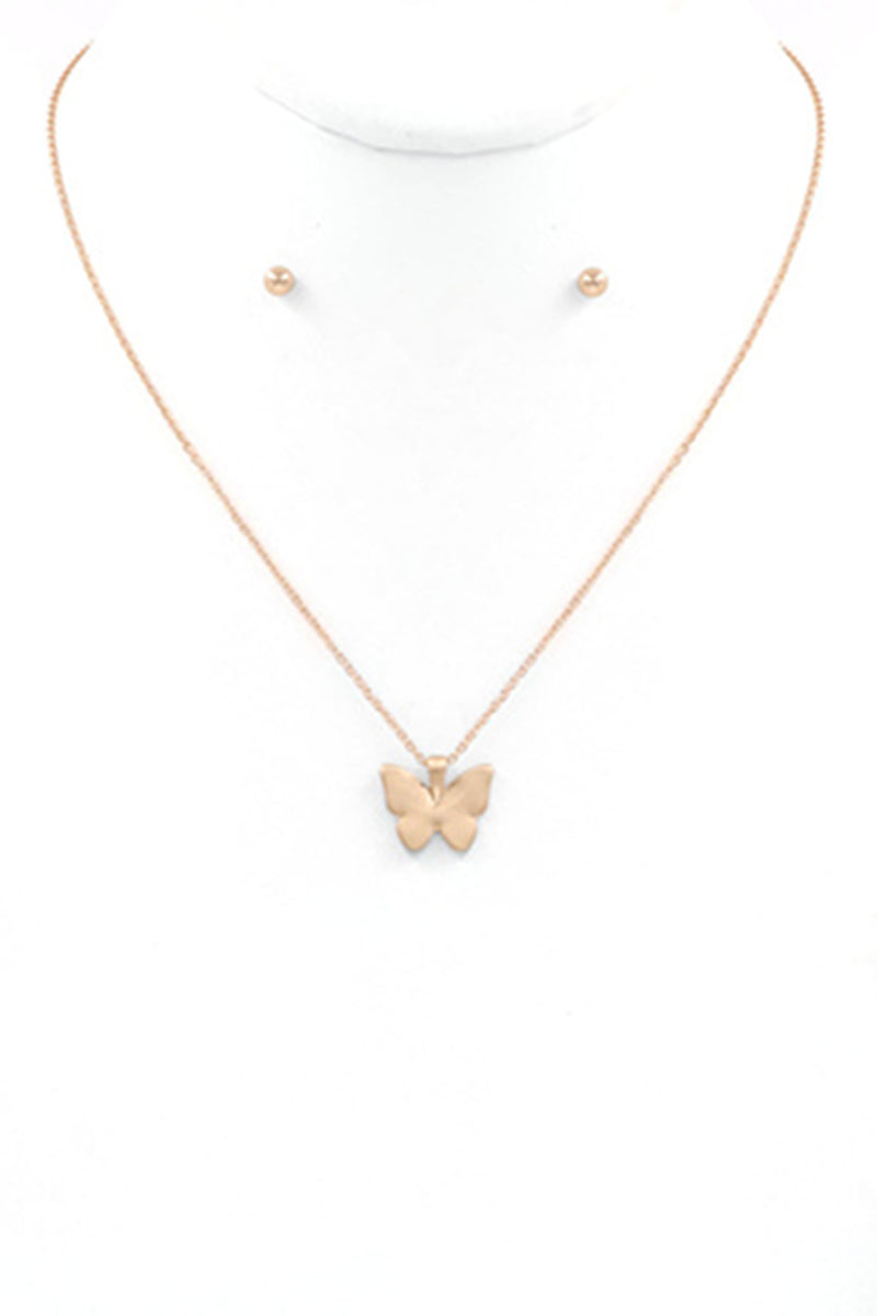 Butterfly Necklace-Matte Gold