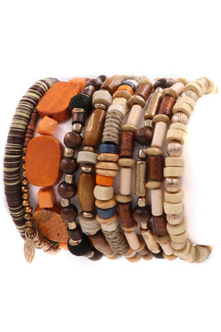 Bead Chevron Bracelet Set-Brown