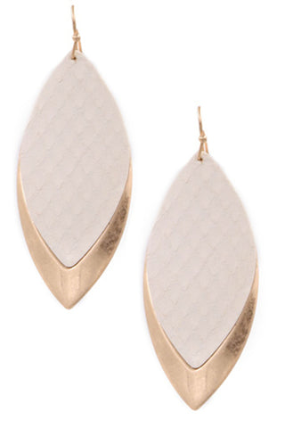 Faux Leather Teardrop Earrings-Grey