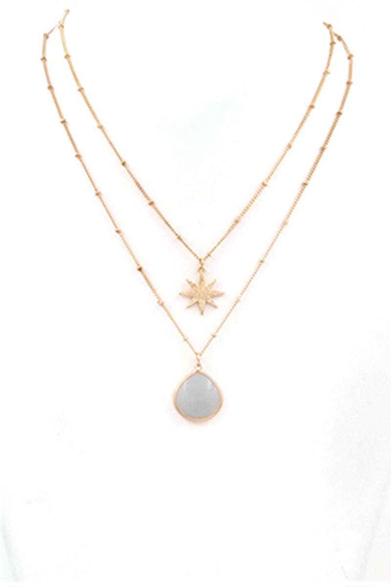 Star Charm Stone Necklace-White